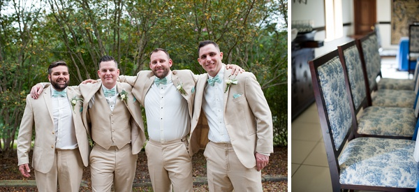 Groomsmen in sand colored suits at Williamsburg Winery