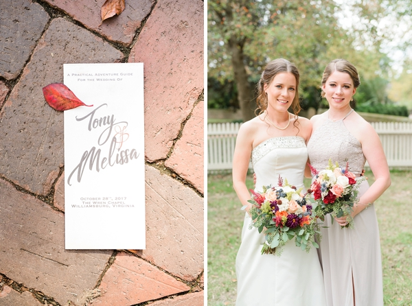 Fall wedding program for Wren Chapel wedding in Virginia