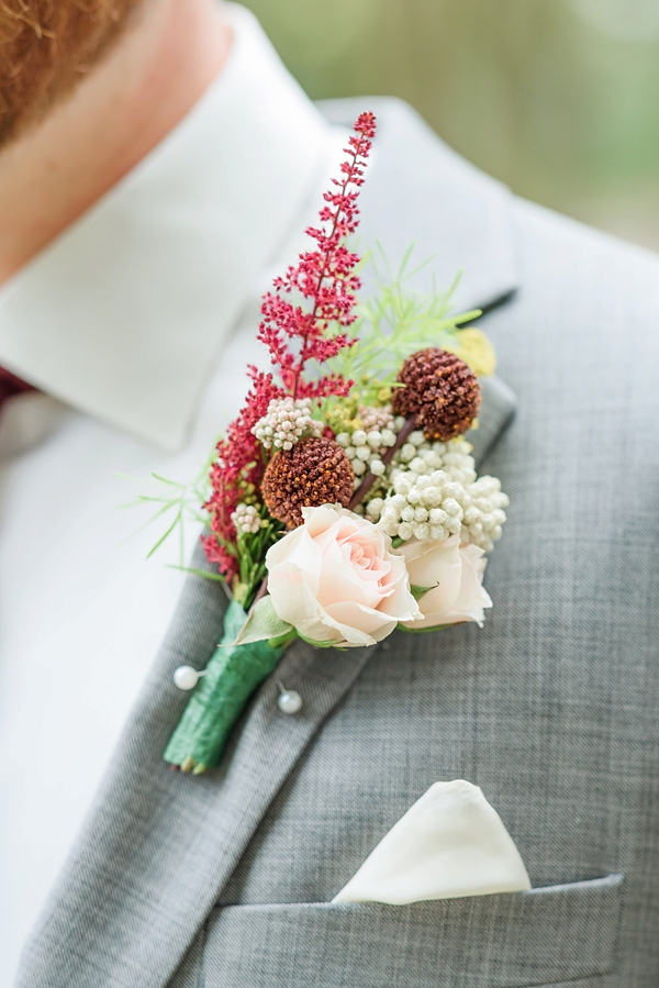 Fall wedding boutonniere for Williamsburg groom