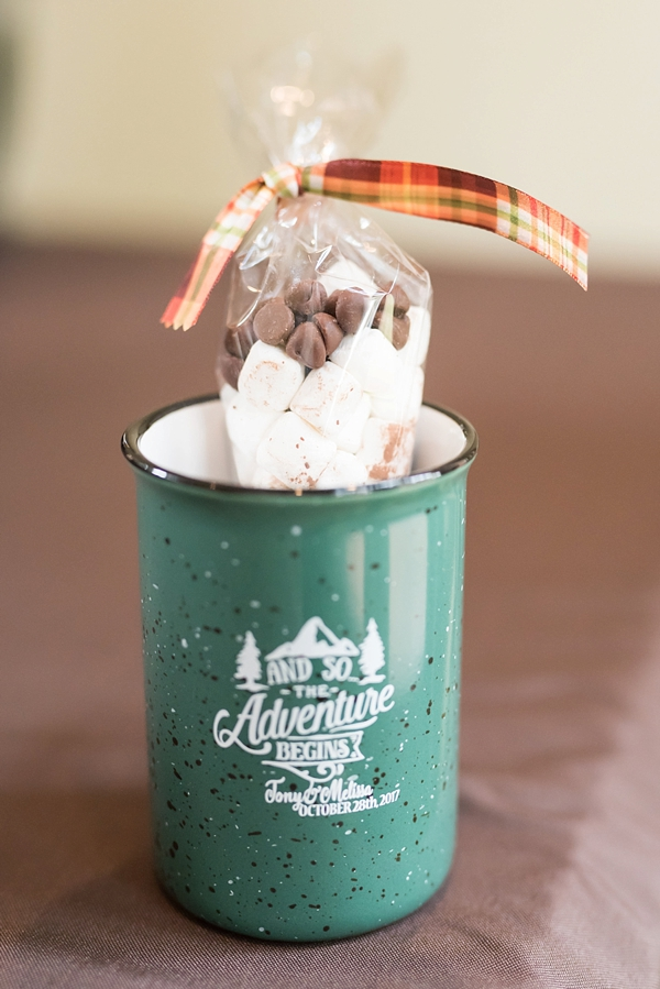 Adorable enamel mug fall wedding favor with hot cocoa
