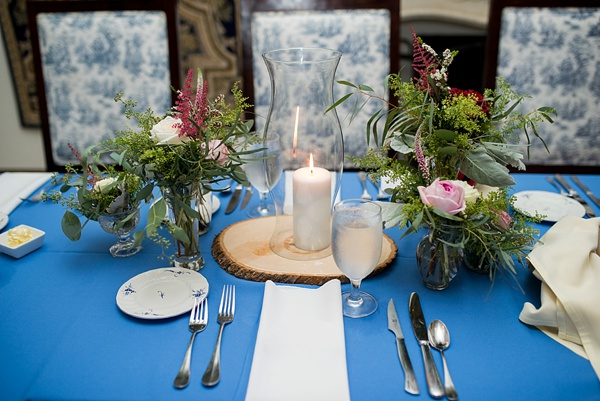 Rustic winery wedding centerpiece