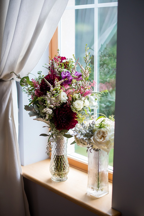 Burgundy red and white wedding bouquet
