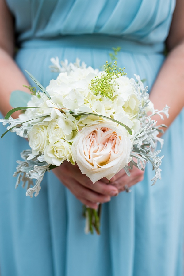 Simple white and pink bridesmaid bouquet
