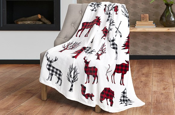 Printed ribbed flannel throw blanket