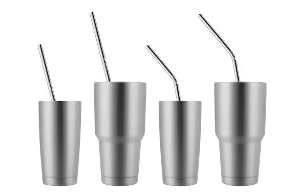 8 stainless steel drinking straws