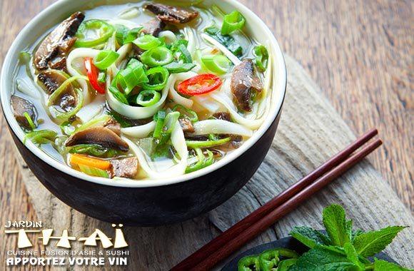 Menu asiatique au Jardin Thaï