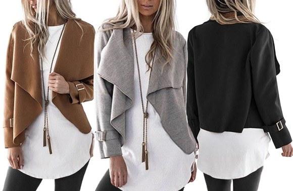 Wool-blend waterfall lapel jacket