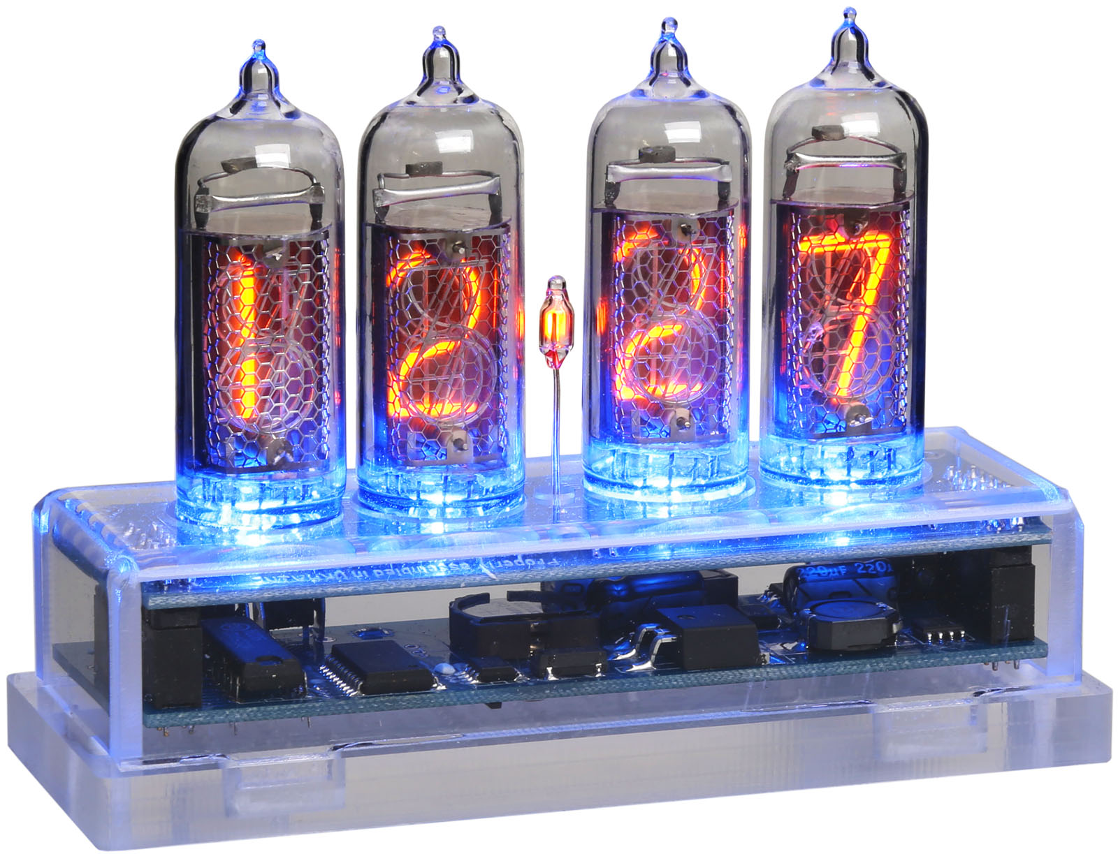 Nixie Clock with 4 IN-14 Tubes - Acrylic Base