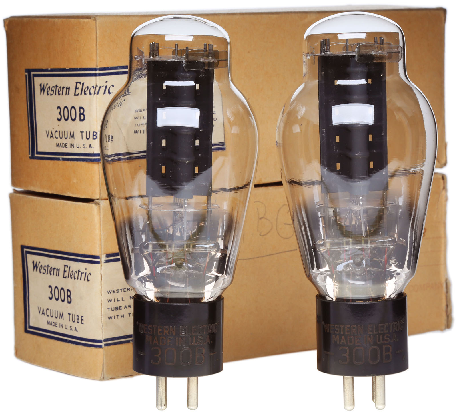 NOS Western Electric Engraved Base 300B, Black Plate, Late 1930's, Matched Pair