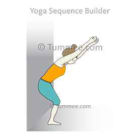 Chair Pose Variation At Wall (Utkatasana Variation At Wall)