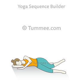 side reclined shoulder stretch a supine spinal twist pose