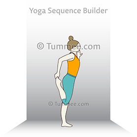 dancer pose preparation wall yoga natarajasana