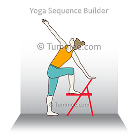 extended sage marichi pose with chair back to wall yoga