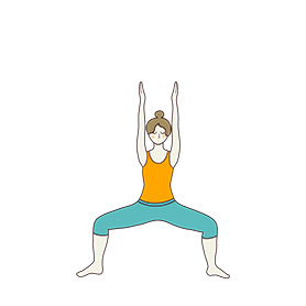 Goddess Pose Variation Arms Straight Up (Utkata Konasana Variation Arms Straight Up)