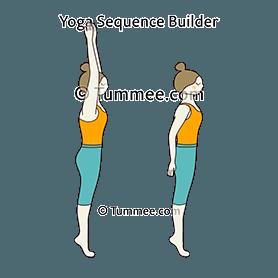 mountain pose on tiptoes arms flow yoga tadasana on