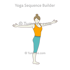 mountain pose twist arms shoulder level spread out yoga