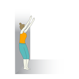 Prenatal Mountain Pose Arms Raised Wall (Prenatal Tadasana Arms Raised Wall)
