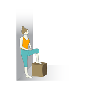 Prenatal Mountain Pose One Leg On Stool Wall Support (Prenatal Tadasana One Leg On Stool Wall Support)