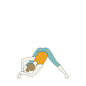Wide Legged Forward Bend Pose Variation Both Hands On One Ankle (Prasarita Padottanasana Both Hands On One Ankle)