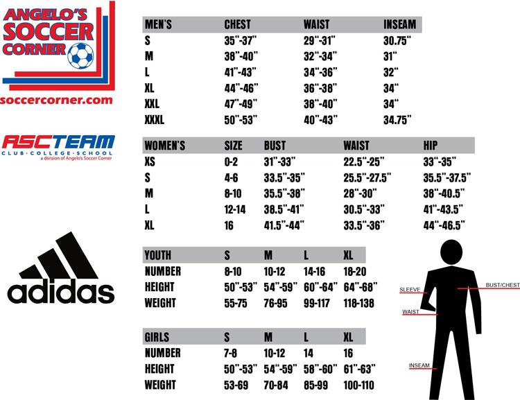 adidas youth jersey size chart