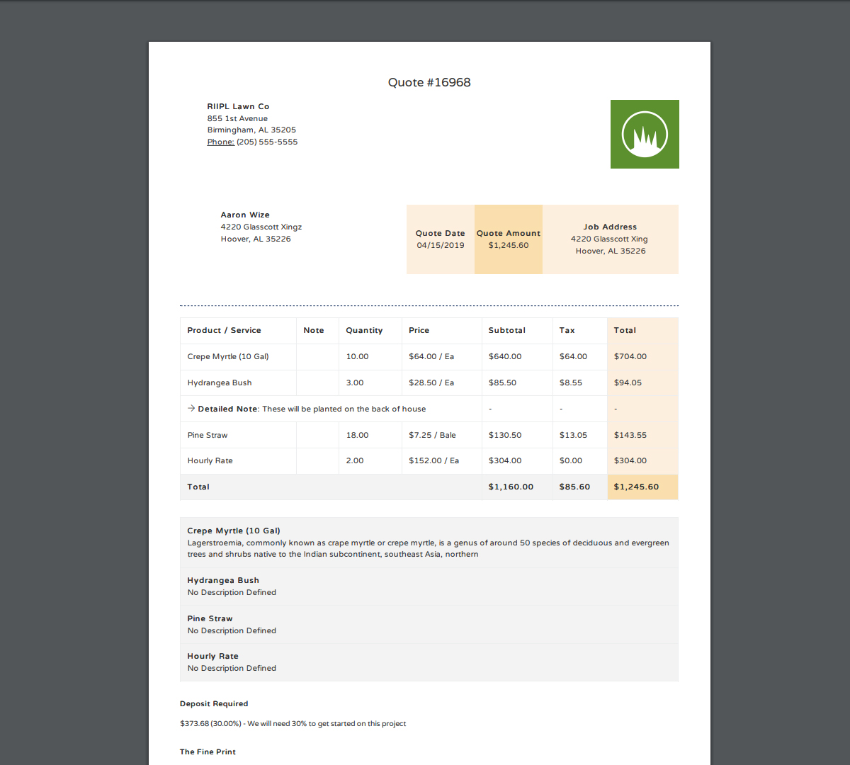 JobCloser PDF Invoices & Proposals
