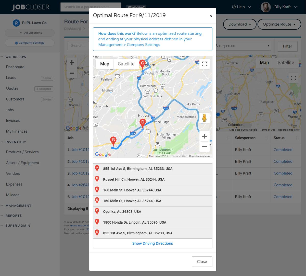 JobCloser Route Optimization