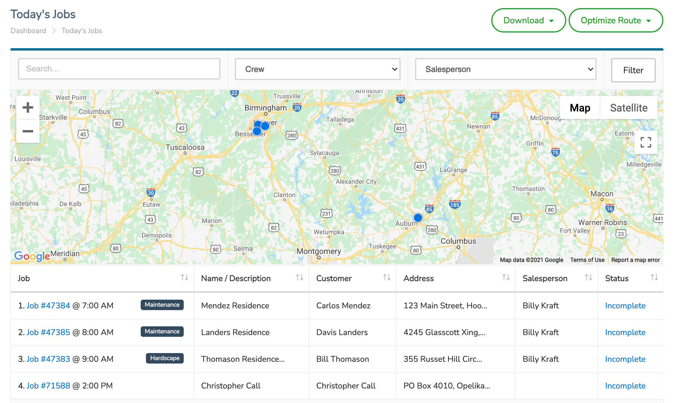 JobCloser Field Service Routing Software
