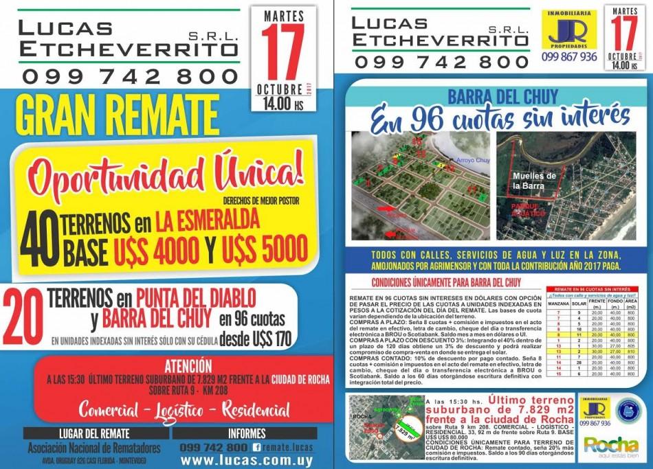 Remate de terrenos en Punta del Diablo, La Esmeralda y Barra de Chuy