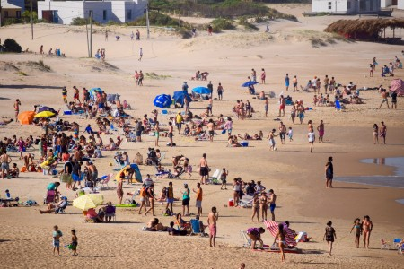 El Desplayado Beach in La Pedrera, Uruguay, between rocks and fine sand to enjoy the summer