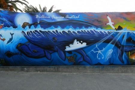 Mural sobre la Ballena Franca Austral en Castillos. Artista: Jhony López