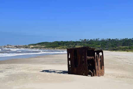Shipwreck: Porteña steam boat on the beach of La Coronilla in Rocha, Uruguay