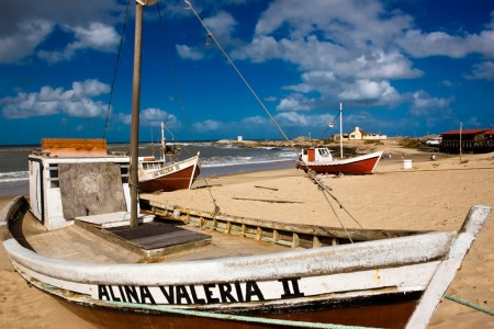 De Los Pescadores Beach in Punta del Diablo, Uruguay, that of artisanal fishing boats