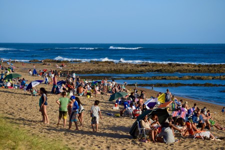 El Cabito Beach in La Paloma, Uruguay, where children enjoy summer in its natural pools