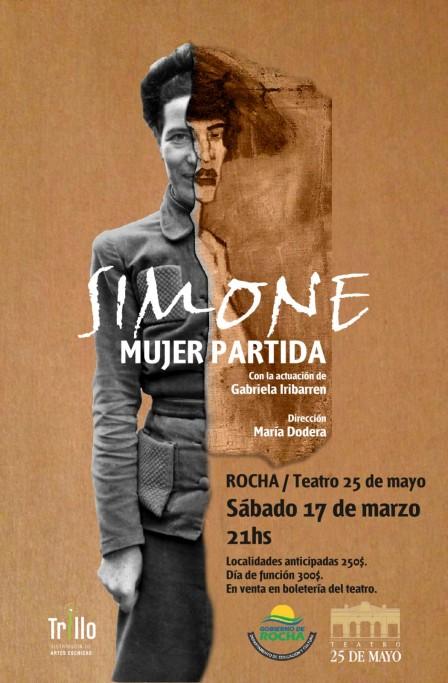 """""""Simone: mujer partida"""" en el Teatro 25 de Mayo de Rocha"""