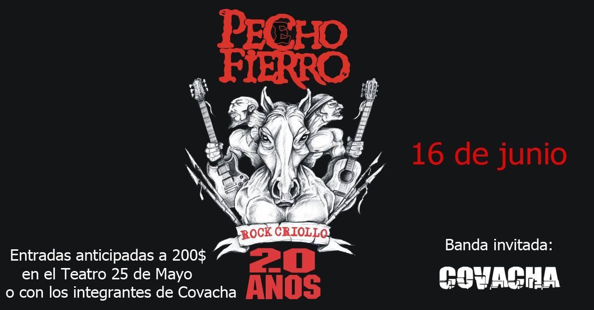 """20 años de la banda """"Pecho e' Fierro"""" con Covacha de teloneros en el Teatro 25 de Mayo de Rocha"""