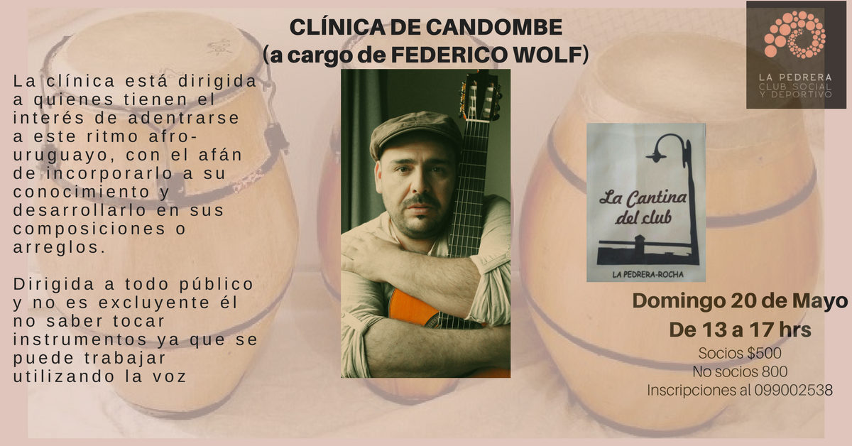 Taller de candombe con Federico Wolf en el Club Social y Deportivo de La Pedrera