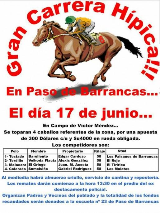 Gran Carrera Hípica a beneficio en Paso de Barrancas