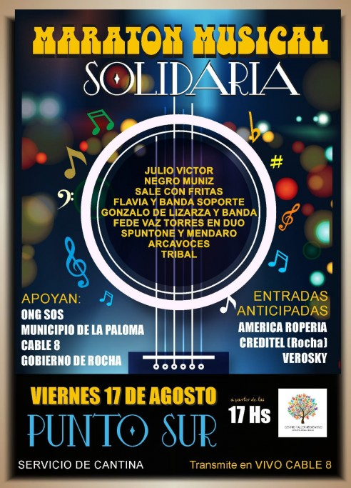 Maratón musical solidaria en La Paloma, con artistas locales y visitantes