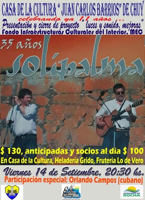 Casa de la Cultura de Chuy celebra sus 11 años con un show de Solipalma
