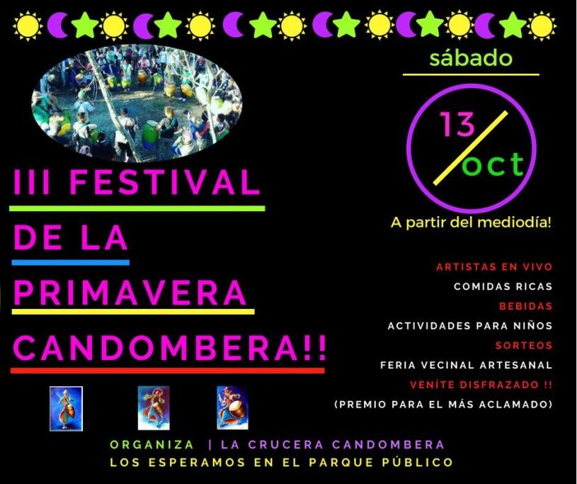III Festival de la Primavera Candombera, disfraces, música, feria artesanal, gastronomía, en Punta del Diablo