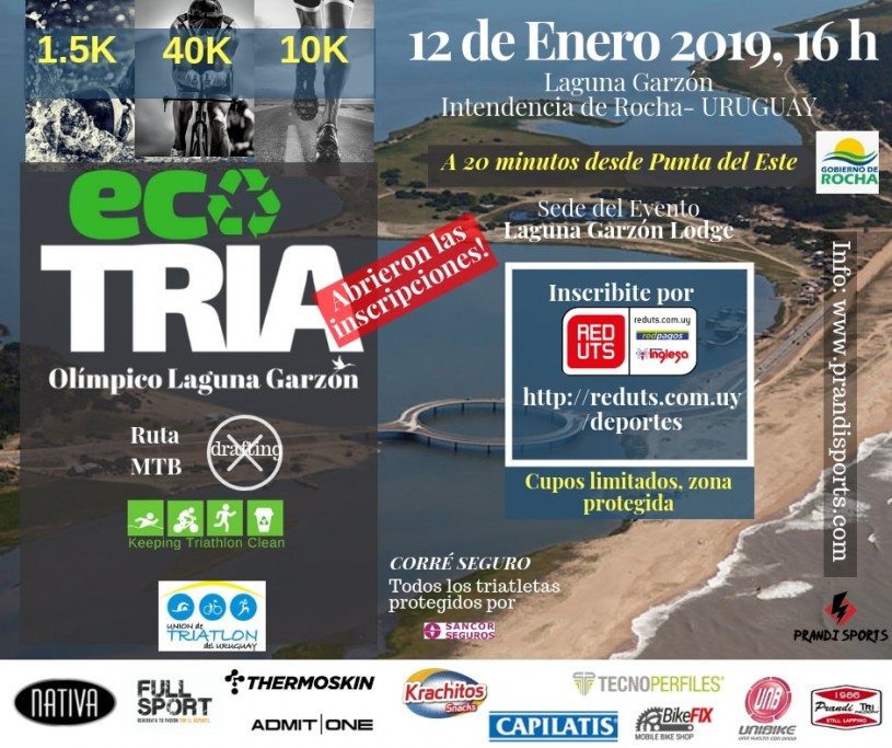 Eco Triatlón Olímpico 2019 en la Laguna Garzón, swim 1.5K + bike 40K + run 10K