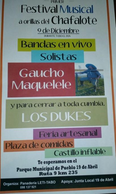 1er Festival musical a orillas del Chafalote en 19 de Abril, con actividades para toda la familia
