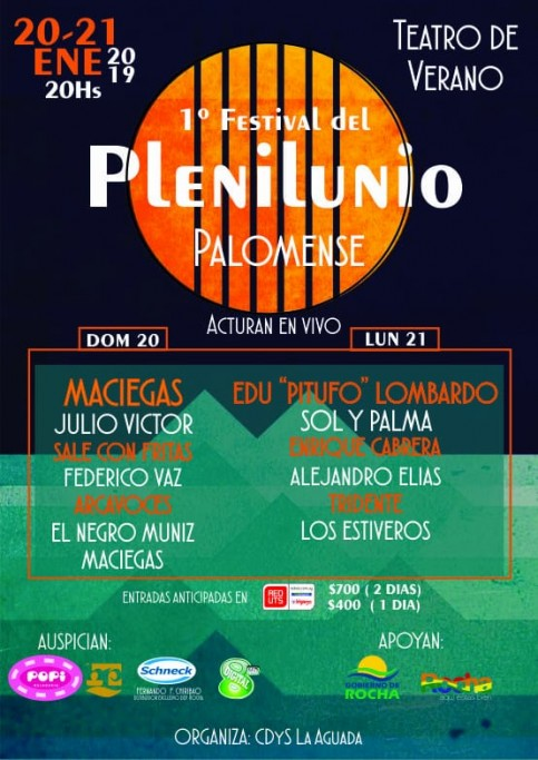 En verano, 1er Festival del Plenilunio Palomense en La Paloma, con una variada grilla de artistas