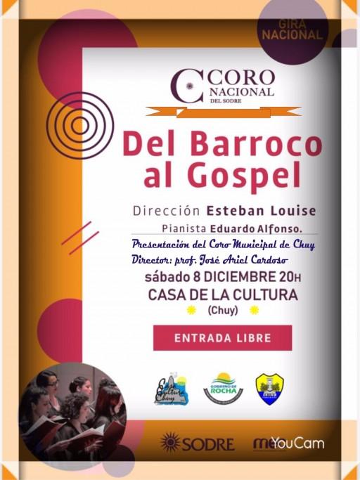 """Concierto del Coro Nacional del Sodre, """"Del Barroco al Gospel"""" en Chuy"""