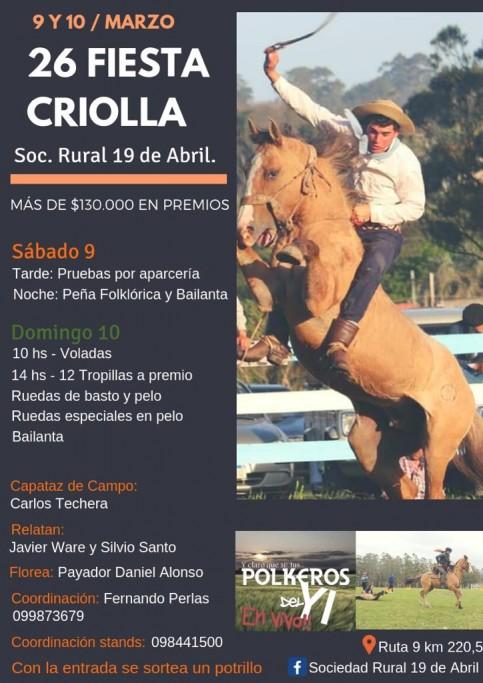 26ª Fiesta Criolla en la Sociedad Rural 19 de Abril, con más de $130.000 en premios