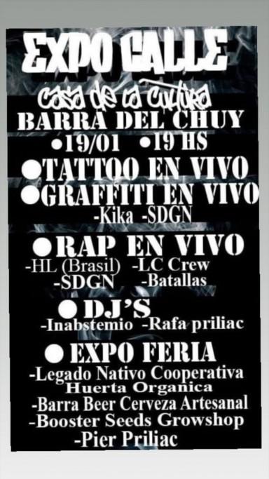 Expo Calle en Barra de Chuy, feria, tattoo, graffiti, música en vivo