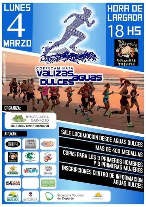 Correcaminata 2019, 7K por la playa, uniendo Barra de Valizas y Aguas Dulces