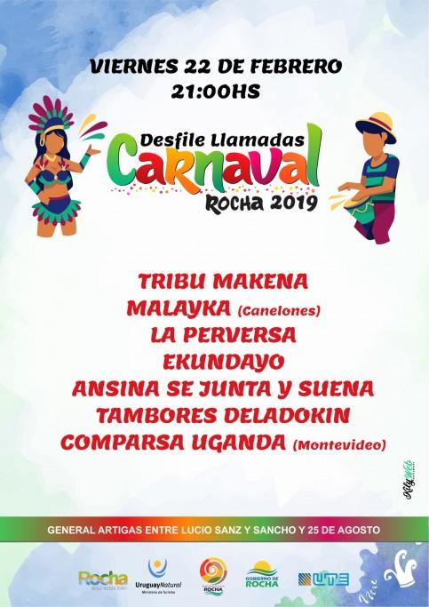 En Carnaval, desfile de llamadas 2019 por las calles de la ciudad de Rocha