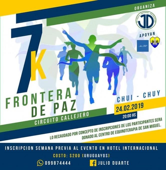 Correcaminata 7K Frontera de la paz, en un circuito callejero, por la ciudad de Chuy