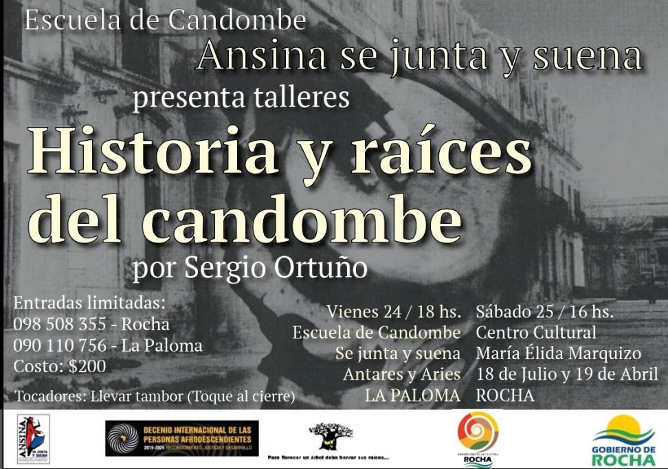 """Talleres """"Historia y raíces del candombe"""" por Sergio Ortuño en La Paloma y Rocha"""